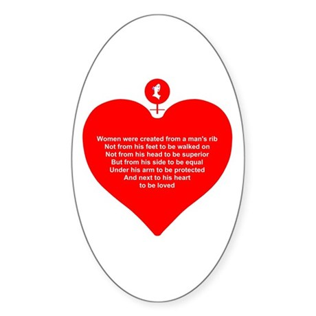 Red Heart Oval Sticker