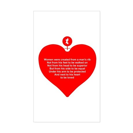 Red Heart Rectangle Sticker