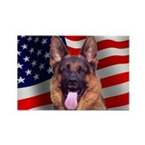 Patriotic German Shepherd Rectangle Magnet