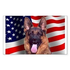 Patriotic German Shepherd Rectangle Decal