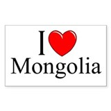 """I Love Mongolia"" Rectangle Decal"