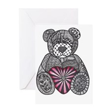 ZENTANGLE INSPIRED TEDDY BEAR Greeting Card