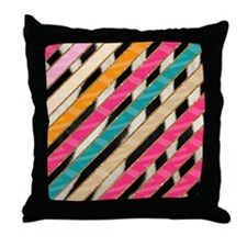 Stylish Bright Pink Teal Stripes Zebr Throw Pillow