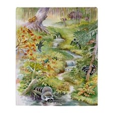 Watercolor Summer Scene Blanket