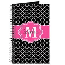 Pink Black Quatrefoil Personalized Journal