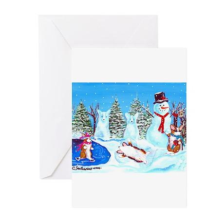 Snow Corgis II Greeting Cards