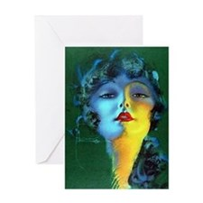 Flapper Art Deco Woman on Green Roaring 20s Greeti