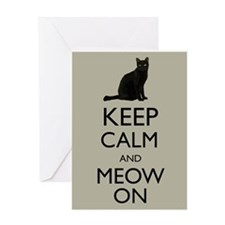 Keep Calm and Meow On Black Cat Humor Parody Greet