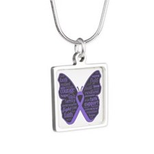 Butterfly Hodgkins Disease Ribbon Silver Square Ne
