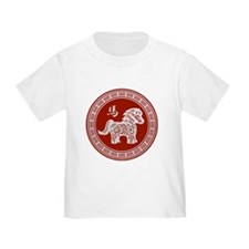 Red chinese horse with ornate frame large T-Shirt