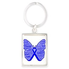 Butterfly Colon Cancer Ribbon Portrait Keychain