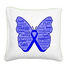 Butterfly Colon Cancer Ribbon Square Canvas Pillow