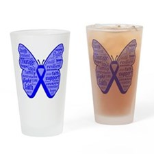 Butterfly Colon Cancer Ribbon Drinking Glass