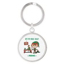 Personalize Future Christmas Elf Round Keychain