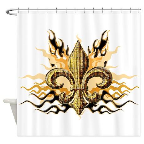 Cool gifts gt cool bathroom d 233 cor gt gold fleur de lis shower curtain