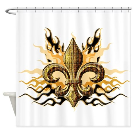 Gold fleur de lis shower curtain by 77design - Fleur de lis shower curtains ...