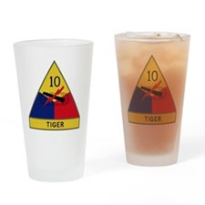 10th Armored Division - Tiger Divis Drinking Glass
