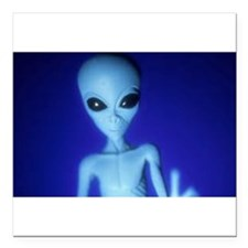 "The Blue Alien Square Car Magnet 3"" x 3"""