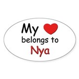 My heart belongs to nya Oval Decal