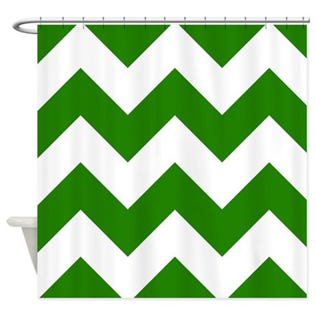 Green Chevron Pattern Shower Curtain By Graphicallusions