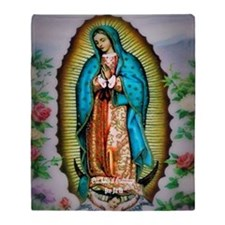 Our Lady of Guadalupe Floral Throw Blanket