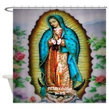 Our Lady of Guadalupe Floral Shower Curtain
