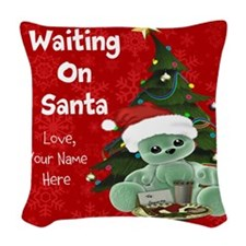 Waiting on Santa Personalized Woven Throw Pillow