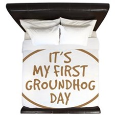 Babys First Groundhog Day King Duvet