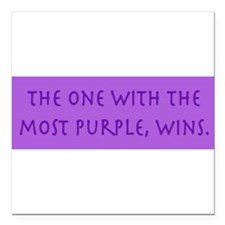"Cute Purple Square Car Magnet 3"" x 3"""