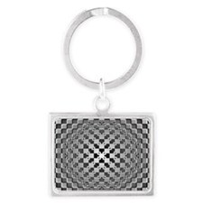 3D Checkered Optical Illusions Landscape Keychain