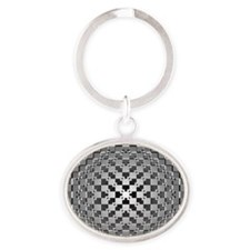 3D Checkered Optical Illusions Oval Keychain