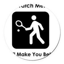 TennisWatchMe Black Round Car Magnet