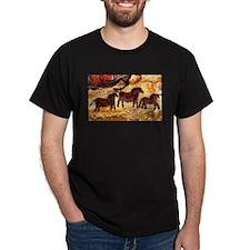 LASCAUX HORSES Black T-Shirt
