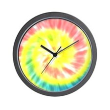 Coral and Yellow Tie Dye Wall Clock