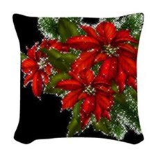 SPARKLING POINSETTIAS Woven Throw Pillow
