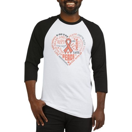 Uterine Cancer Heart Words Baseball Jersey