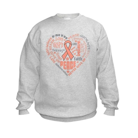 Uterine Cancer Heart Words Kids Sweatshirt