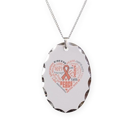 Uterine Cancer Heart Words Necklace Oval Charm