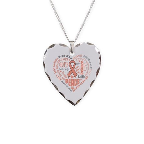 Uterine Cancer Heart Words Necklace Heart Charm