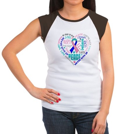 Thyroid Cancer Heart Words Women's Cap Sleeve T-Sh