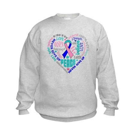 Thyroid Cancer Heart Words Kids Sweatshirt
