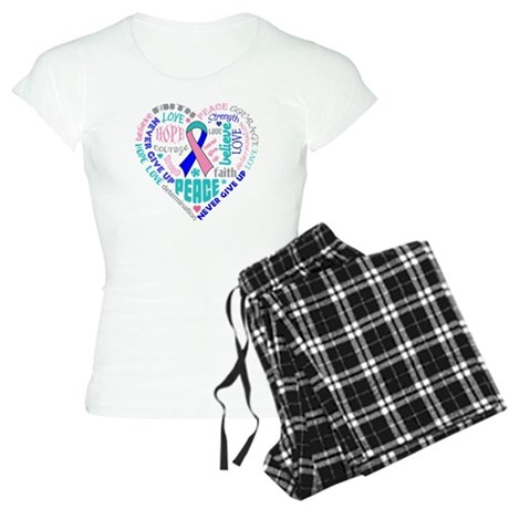Thyroid Cancer Heart Words Women's Light Pajamas