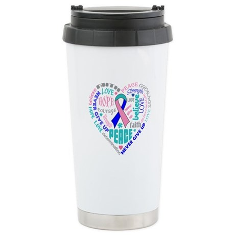 Thyroid Cancer Heart Words Ceramic Travel Mug