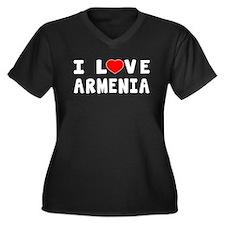 I Love Armenia Women's Plus Size V-Neck Dark T-Shi