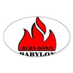 BURN BABYLON Oval Sticker