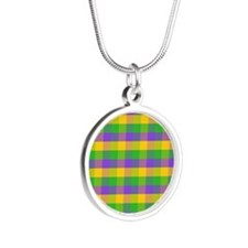 FleurMGcolorPlaidMp Silver Round Necklace