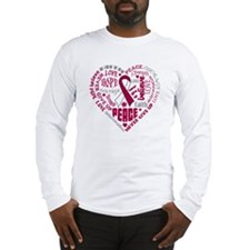 Throat Cancer Heart Words Long Sleeve T-Shirt