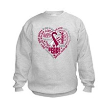 Throat Cancer Heart Words Sweatshirt