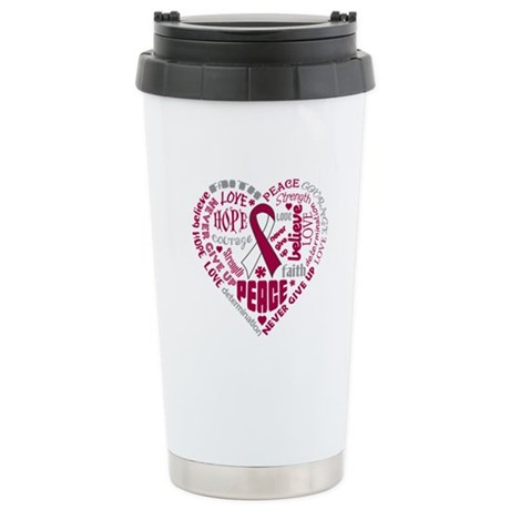 Throat Cancer Heart Words Ceramic Travel Mug