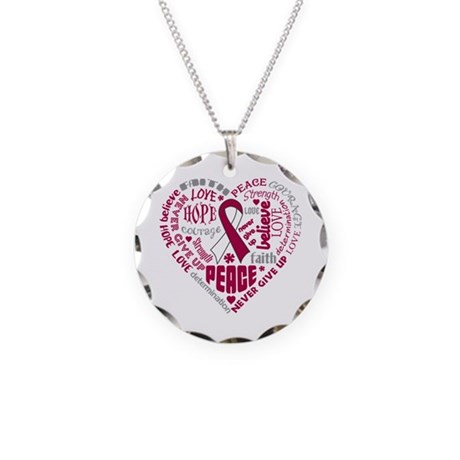 Throat Cancer Heart Words Necklace Circle Charm